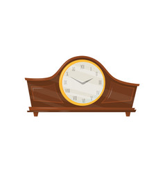 vintage wooden clock with roman numerals and vector image
