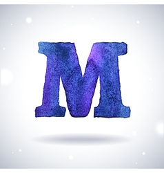 Watercolor letter M vector image