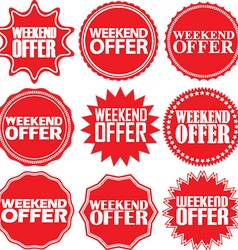 Weekend offer red label Weekend offer red sign vector
