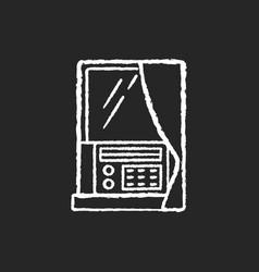 Window air conditioner chalk white icon on black vector