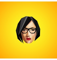 With a female face in origami style hipster vector