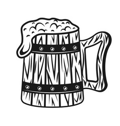 wooden beer mug with foam black object vector image