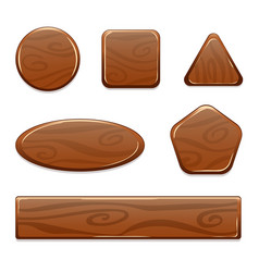 wooden icon game asset on white background vector image