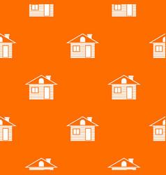 Wooden log house pattern seamless vector