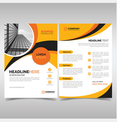 yellow and black business flyer template with vector image