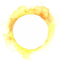 Yellow and orange watercolor circle frame vector