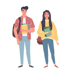 young men and women in casual clothes vector image
