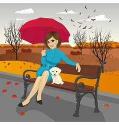 young woman in blue autumn coat with umbrella vector image