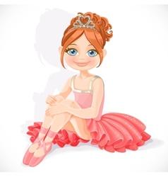 Beautiful little ballerina girl in pink dress sit vector image