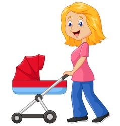 Cartoon a mother pushing a baby stroller vector image vector image