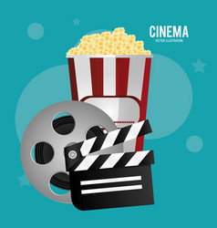 cinema reel film pop corn clapper movie vector image vector image