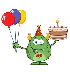 cute green monster holding up a colorful balloons vector image