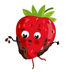 Funny fruit strawberry isolated cartoon character vector image vector image