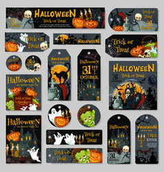 halloween pumpkin and ghost label or tag design vector image vector image