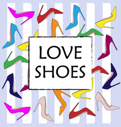 set of colorful fashion womens shoes vector image