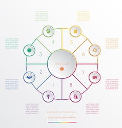Circle from 8 coloured lines vector image vector image