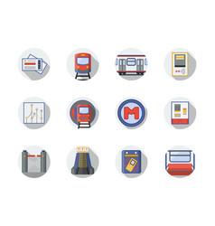 city metro flat round icons vector image