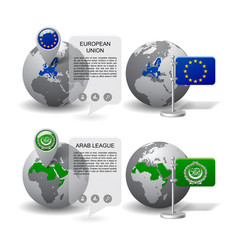 gray earth globes with designation of european vector image