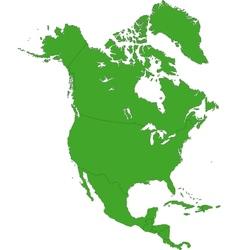 Green North America map vector image vector image