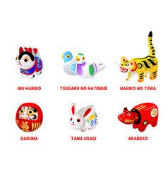 japanese folk toys vector image vector image