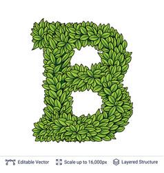 letter b symbol of green leaves vector image