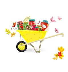 tasty pickled foods in garden cart for your design vector image vector image