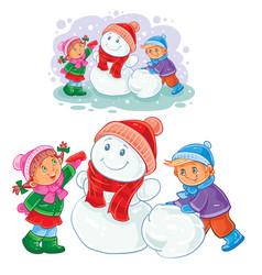 winter of small children make snowmen vector image