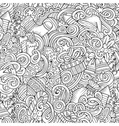 Cartoon cute doodles New Year seamless pattern vector image vector image