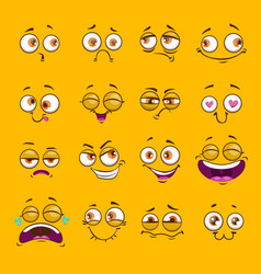Funny cartoon comic faces on yellow background vector