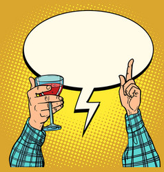 good wine hand with glass vector image