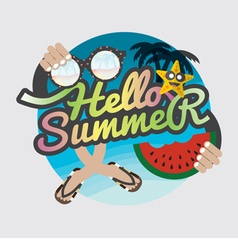 Hello Summertime Badge Design vector image