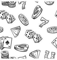 Seamless Pattern Casino set symbols Black and vector image