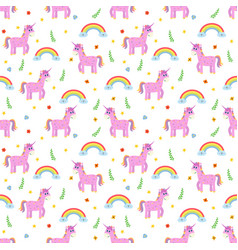 seamless pattern with cute pink unicorns and vector image