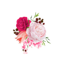 elegance flowers bouquet of color roses and tulip vector image vector image