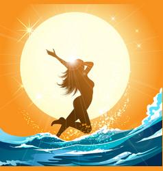 girl running on the beach vector image