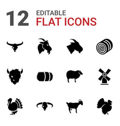12 rural icons vector image