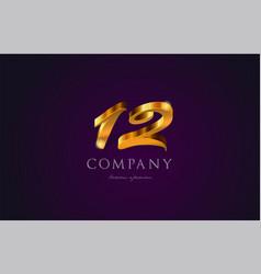 12 twelve gold golden number numeral digit logo vector