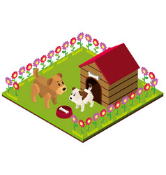 3d design for dogs in yard vector