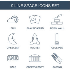 9 space icons vector image