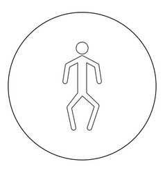 a man with crooked legs icon black color in vector image