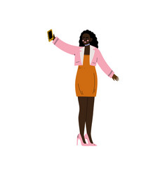 African american girl with smartphone trendy vector