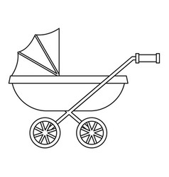 Baby stroller icon outline style vector