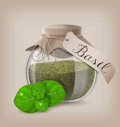 Basil dry spice in a jar with basil leaves vector
