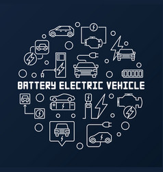 battery electric vehicle round vector image
