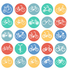 Bicycle icons set on color circles white vector