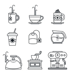 Black lineart icon set Coffee tea cup devices vector