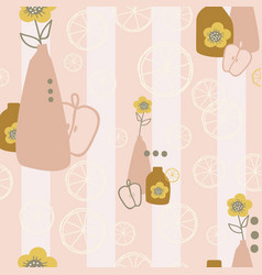 brownpink and white vasesflowers and lemons on vector image