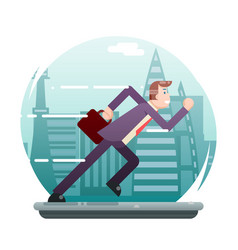 businessman running character urban landscape city vector image vector image