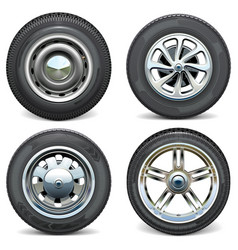 car tires with retro and modern disks vector image