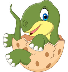cartoon baby dinosaur hatching vector image